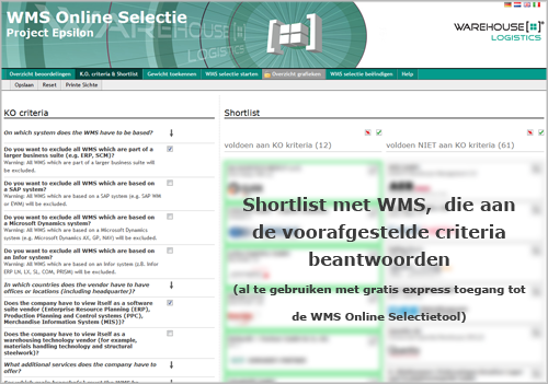 Screenshot WMS Online Selection (Express-Version)